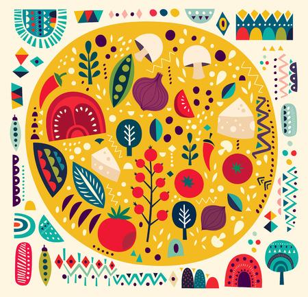 restaurante italiano: Arte vector ilustración de colores con la pizza y otros elementos