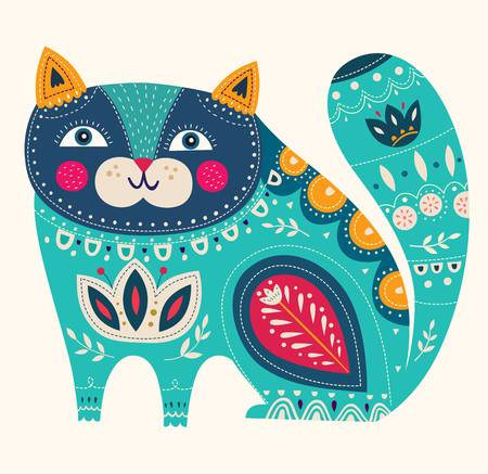 Beautiful decorative vector cat in blue color Ilustração