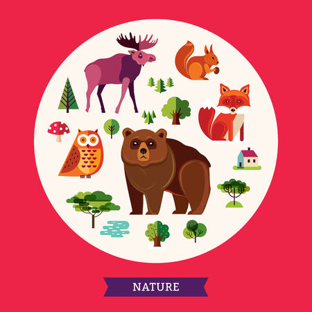 animals collection: Forest animals collection Illustration