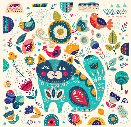 Beautiful decorative vector cat in blue color with butterflies, birds and flowers
