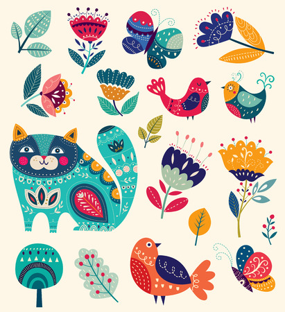 birds: Vector colorful illustration with beautiful cat, butterflies, birds and flowers