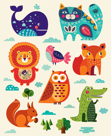 Perfect vector set of illustration in cartoon naive style with funny animals and birds.