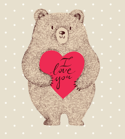 cute bear: Vector colored illustration with adorable cute bear