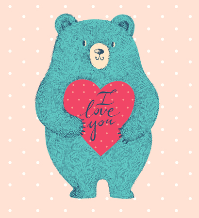 cute bear: Vector colored illustration with cute bear on pink background Illustration