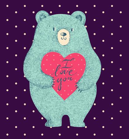 animal print: ilustración vectorial de color con el oso lindo en el fondo azul oscuro Vectores