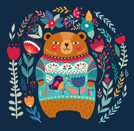animal pattern: Vector pattern with adorable bear, flowers and leaves