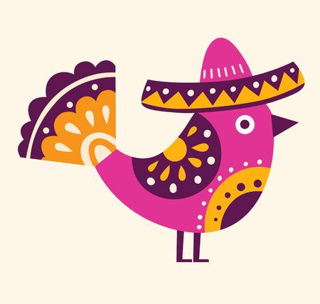 챙 넓은 모자와 함께 아름 다운 멕시코 조류