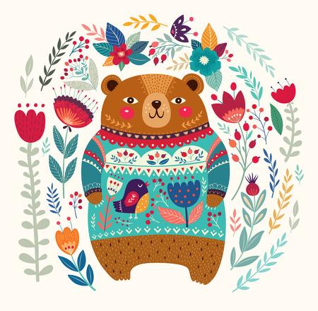 oso caricatura: Modelo del vector con el adorable oso, flores y hojas