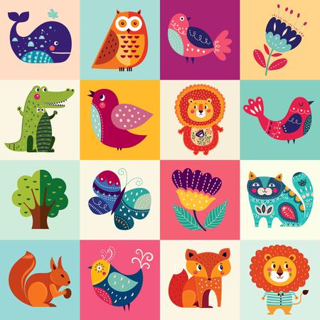 ensemble coloré Big avec des animaux adorables, des oiseaux et des fleurs Illustration