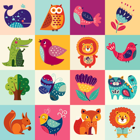Big colorful set with lovely animals, birds and flowers Stock Illustratie