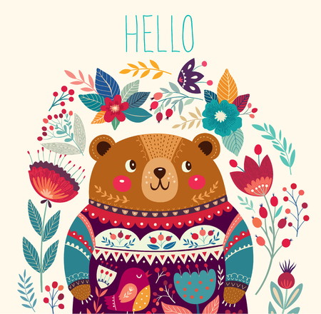 illustration: Vector illustration with adorable bear, flowers and leaves