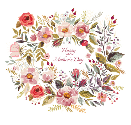 Vintage vector greeting card with floral wreath