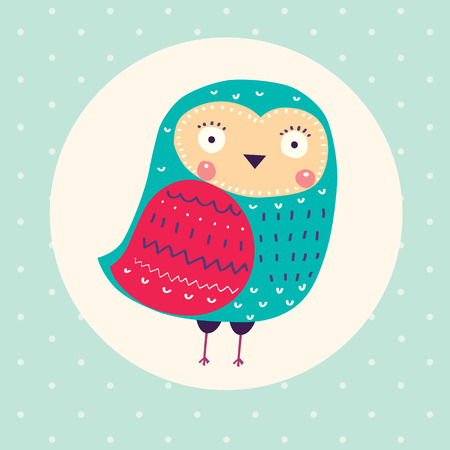 animal pattern: Vector hand drawn illustration with funny owl.