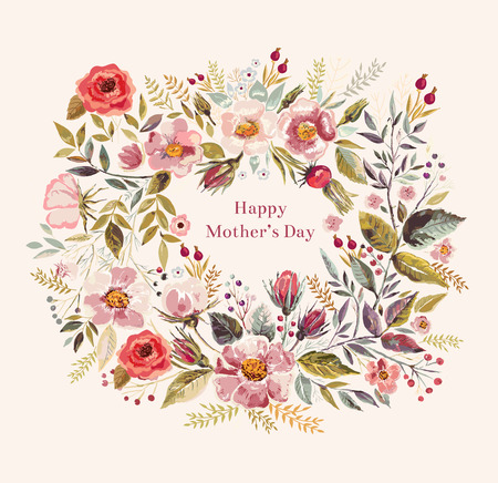 floral vintage: Vintage vector greeting card with floral wreath