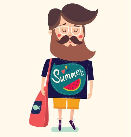 stylish man: illustration with stylish man