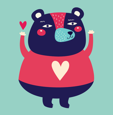 cute animal: illustration with adorable bear