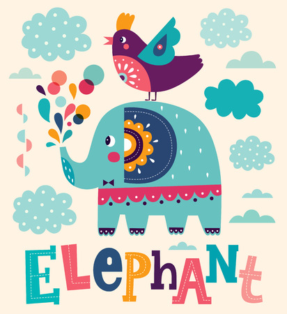 water animal bird card  poster: Funny cartoon illustration with cute elephant and bird