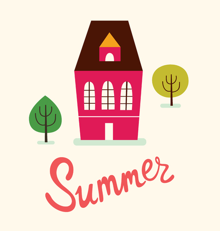 house illustration: summer illustration with red house Illustration