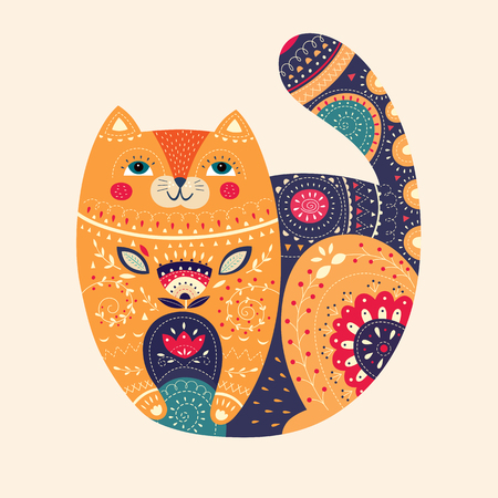 Art vector colorful illustration with beautiful cat.