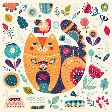 아름다운 고양이, 새와 꽃 예술 벡터 다채로운 그림. 장식 예술 포스터 인테리어와 독특한 디자인에 사용하기 위해
