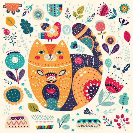 Art vector colorful illustration with beautiful cat, bird and flowers. Art poster for decoration your interior and for use in your unique design Фото со стока - 63080016