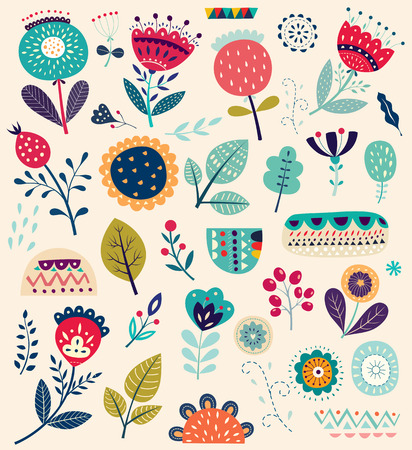 Ilustración colorida del vector del arte con las flores
