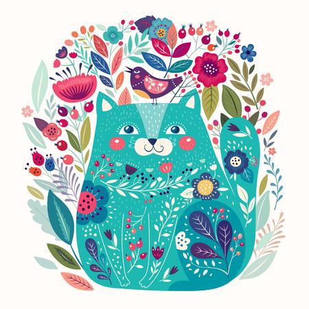 Arte vector colorida ilustración con un hermoso gato, pájaro y flores. cartel del arte para la decoración de su interior y para el uso en su diseño único