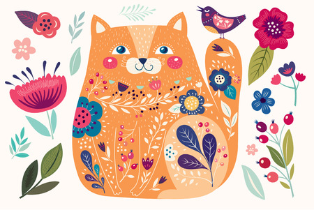 Art vector colorful illustration with beautiful cat