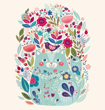 아트 벡터 아름 다운 고양이, 조류와 꽃 다채로운 그림.