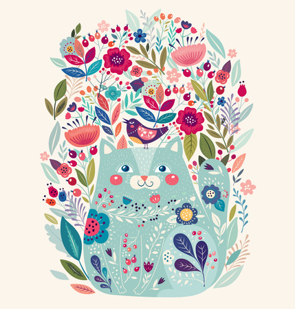 Art vector colorful illustration with beautiful cat, bird and flowers. Иллюстрация