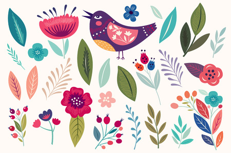 floral elements: Vector set with flowers, floral elements, bird and leaves