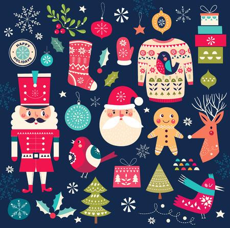 Collection de Noël Illustration vectorielle avec symboles et éléments de Noël Banque d'images - 66675653