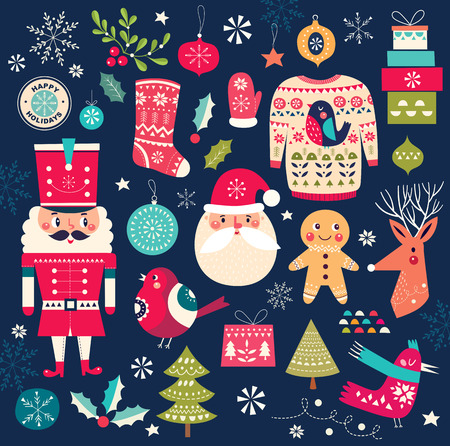 Kerstcollectie. Vectorillustratie met kerst symbolen en elementen Stockfoto - 66675653