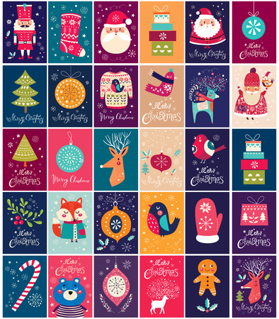 Big collection of Christmas cards and tags with Christmas elements and symbols