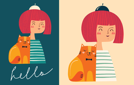 kitty cat: Girl and cat Illustration