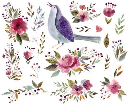 Aquarel illustratie met vogel en bloemen