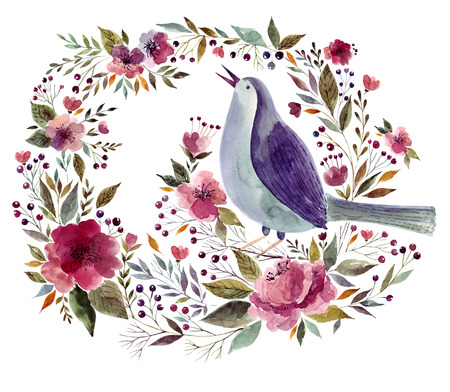 Watercolor illustration with bird and floral wreath