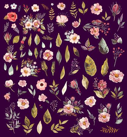 Set van aquarel illustratie met fantastische bloemen en bladeren Stock Illustratie