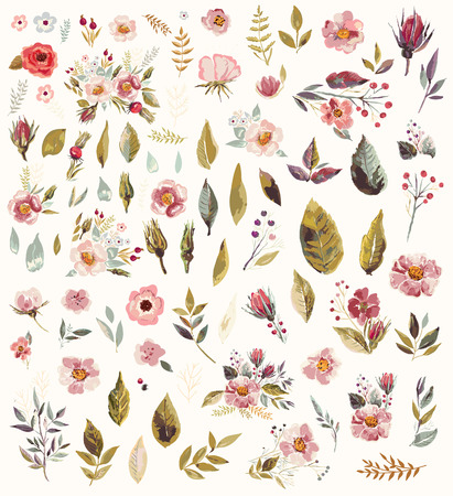 Set of watercolor illustration with amazing flowers and leaves Vettoriali