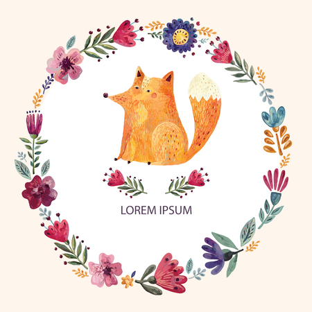 Illustration with cute fox and floral wreath Vettoriali