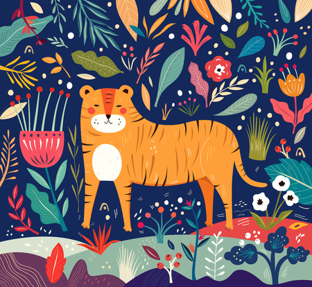 Vector illustration with tiger and flowers on dark background Иллюстрация