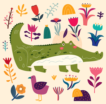 Crocodile and decorative floral background