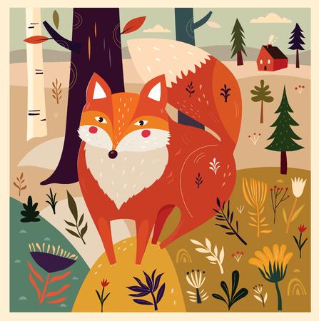 vintage patterns: Fox in forest.