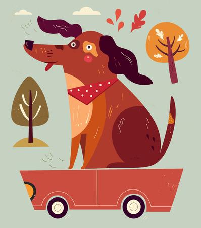 Cartoon illustration with funny dog %u200B%u200Bsitting on the red car.
