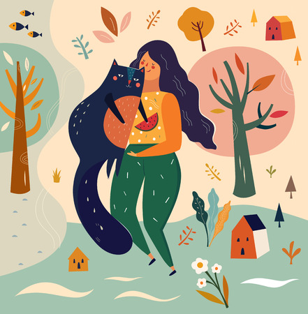 Vector illustration with girl and cat in cartoon style.