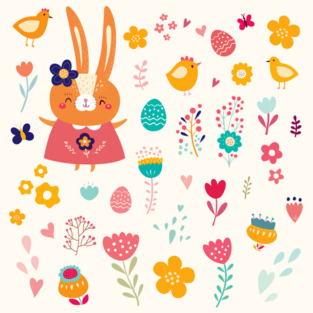 Easter collection. Holiday easter set in cartoon style. Stylish holiday background.