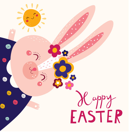 Happy easter card. Holiday easter illustration in cartoon style. Stylish holiday.