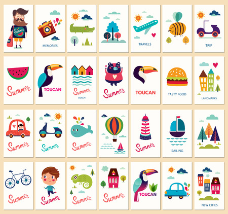 Vector tags collection with summer symbols and elements