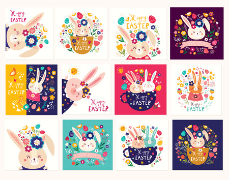 Happy easter collection of greeting cards.