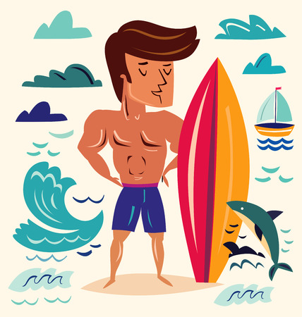 Athletic man standing on the beach with surfboard. Funny character man Ilustração